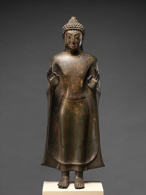 Standing Buddha, Bronze with traces of gilt, Thailand (Nakhon Pathom Province)