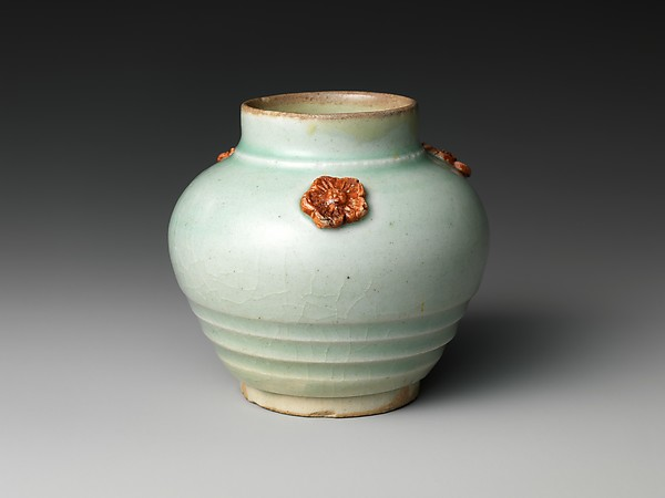 Small Jar with Floral Appliqué, Porcelain with celadon glaze (Hizen ware, early Imari type), Japan