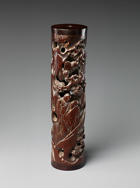 Incense holder with scholars in a landscape, Zhu Sansong (active ca. 1573–1619), Bamboo, China
