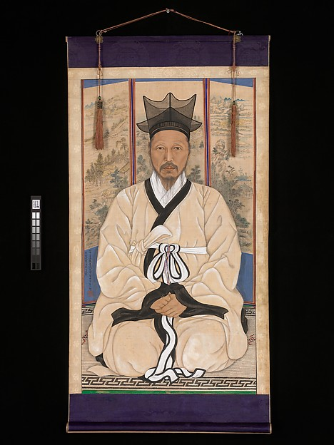 Portrait of a scholar, Chae Yongsin (artist name: Seokji) (Korean, 1850–1941), Hanging scroll; ink and color on silk, Korea