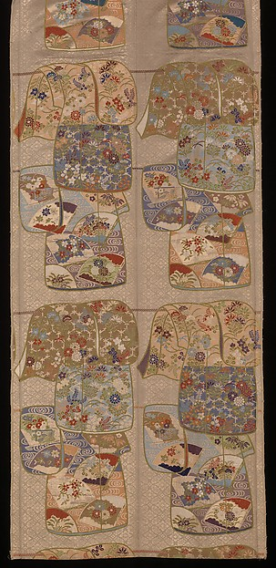 """Obi with """"Whose Sleeves?"""" (Tagasode) Pattern, Twill-weave silk with supplementary weft patterning and metallic thread, Japan"""