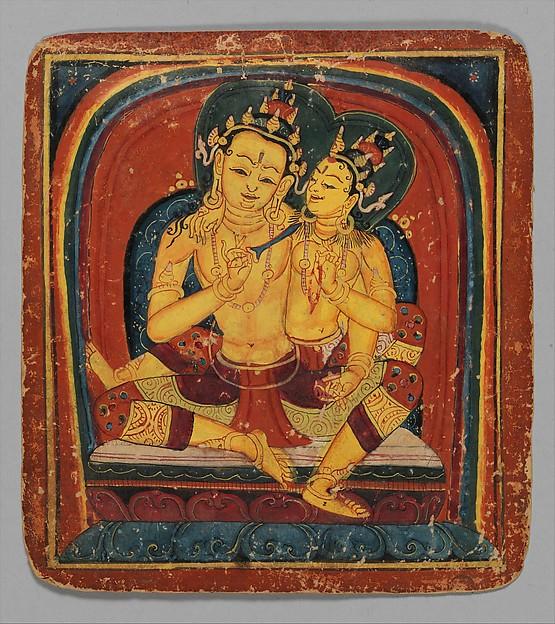 Initiation Card (Tsakalis): Akashagarbha, Opaque watercolor on paper, Tibet