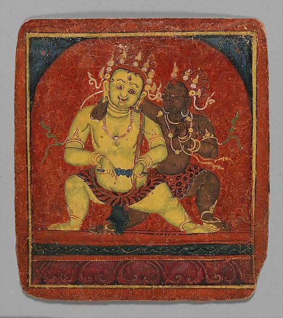 Initiation Card (Tsakalis): Mahakala, Opaque watercolor on paper, Tibet