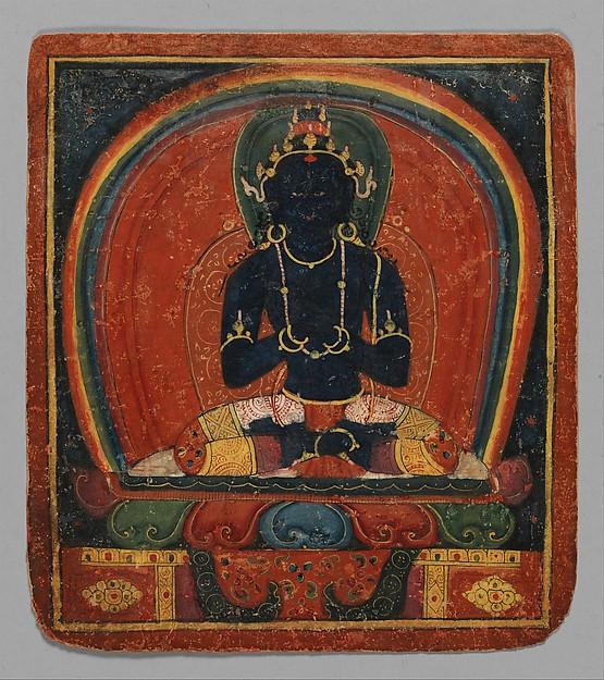 Initiation Card (Tsakalis): Samanthabhadri (Consort), Opaque watercolor on paper, Tibet