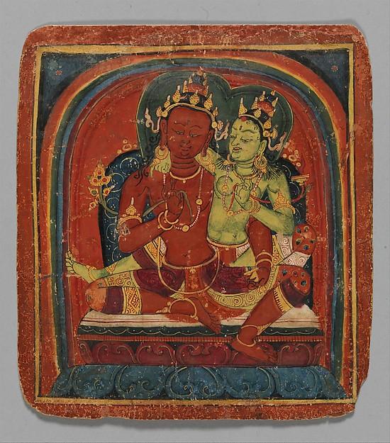 Initiation Card (Tsakalis): Bodhisattva Samantabhadhra, Opaque watercolor on paper, Tibet
