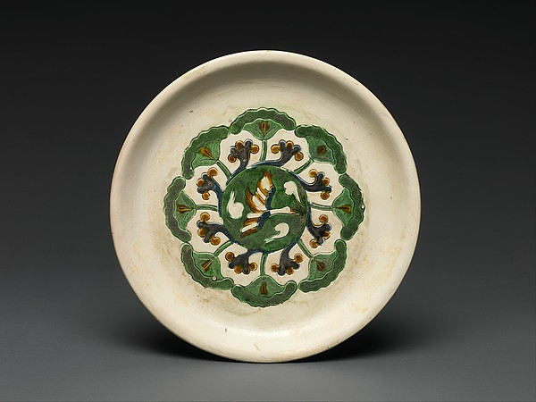 Tray, Earthenware with three-color (sancai) glaze, China