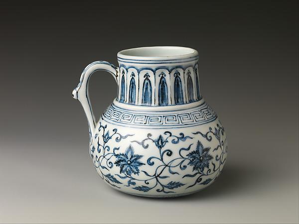 Jug with Floral Scroll, Porcelain painted with cobalt blue under transparent glaze (Jingdezhen ware), China