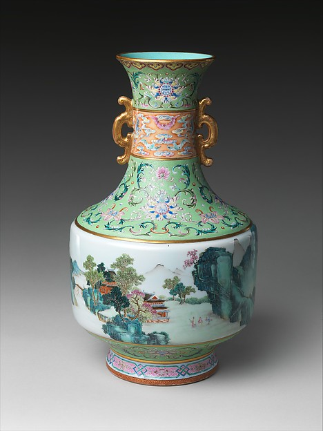 Vase with Landscape Scene, Porcelain with incised decoration, painted with colored enamels over a transparent glaze, and gilded (Jingdezhen ware), China