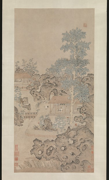 Playing the zither for a crane, Unidentified Artist, Hanging scroll; ink and color on paper, China