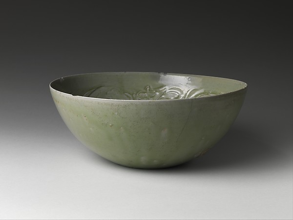 Bowl with Dragons among Waves, Stoneware with carved and incised decoration under celadon glaze (Yue ware), China
