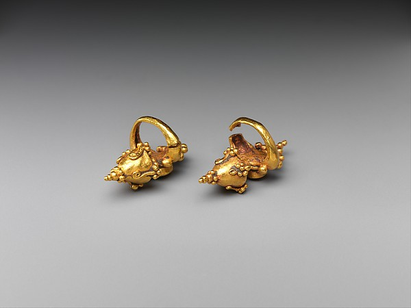 Pair of Ear Clips with Granulate Design, Gold, Indonesia (Java)
