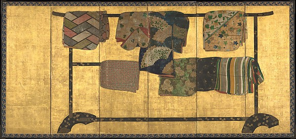 """Tagasode (""""Whose Sleeves?""""), Pair of six-panel folding screens; ink, color, gold, silver, and gold leaf on paper , Japan"""