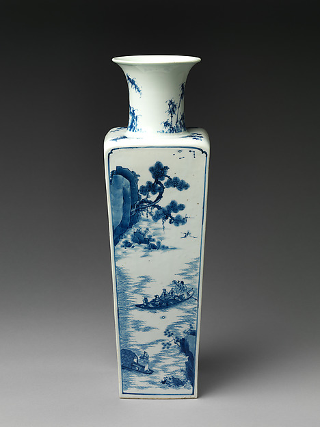 Square-form vase with decoration of Su Shi's Former and Latter Rhapsodies on the Red Cliff, Porcelain painted with cobalt blue under a transparent glaze (Jingdezhen ware), China