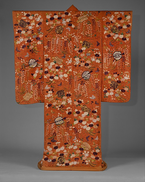 Over Robe (Uchikake) with Fans and Flowers, Silk and metallic-thread embroidery on resist-dyed silk satin damask (rinzu), Japan