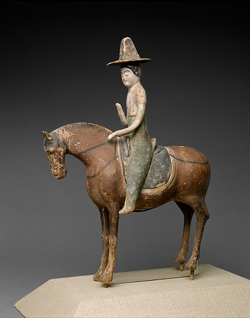 Horse and Female Rider, Unfired clay with pigment, China