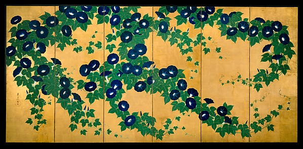 Morning Glories, Suzuki Kiitsu (Japanese, 1796–1858), Pair of six-panel folding screens; ink, color, and gold leaf on paper , Japan