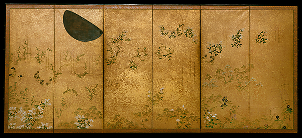 Moon and Autumn Grasses, Studio of Tawaraya Sōtatsu (Japanese, died ca. 1640), Pair of six-panel folding screens; ink, color, silver, and gold flecks on paper, Japan