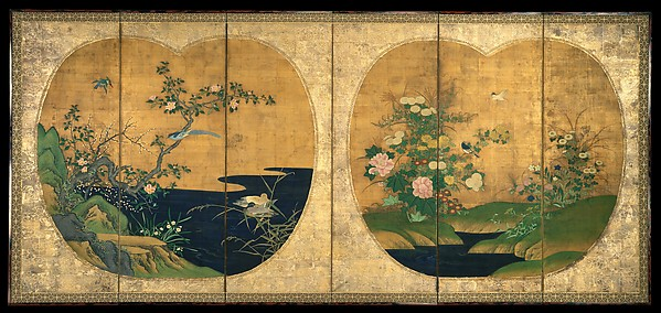Autumn and Winter Flowers and Birds, Kano Chikanobu (Japanese, 1660–1728), Six-panel folding screen; ink and color on silk, Japan