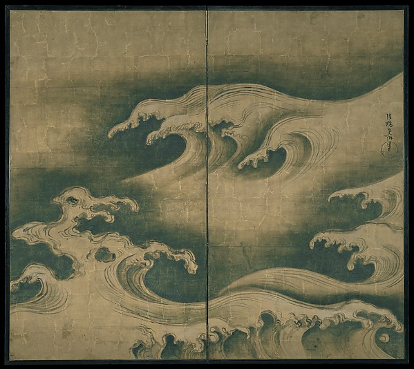 Rough Waves, Ogata Kōrin (Japanese, 1658–1716), Two-panel folding screen; ink, color, and gold leaf on paper, Japan