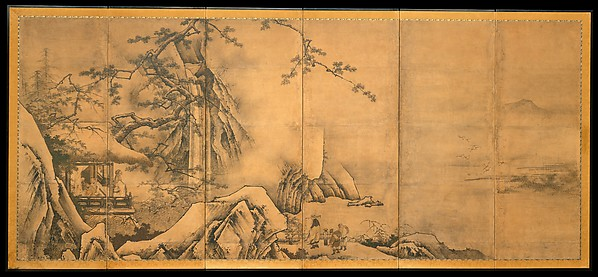 The Four Accomplishments, Kano Motonobu (Japanese, 1477–1559), Pair of six-panel folding screens; ink and color on paper, Japan