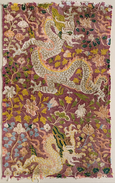 Tapestry with Dragons and Flowers, Silk tapestry, Eastern Central Asia
