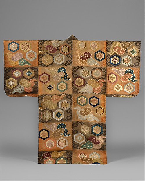 Noh Costume (Atsuita) with Clouds and Hexagons, Silk twill damask with silk brocading wefts and supplementary weft patterning in metallic thread, Japan