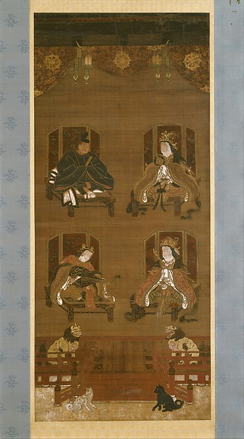 The Four Deities of Kōyasan Temple Complex, Hanging scroll; ink, color, and gold on silk, Japan