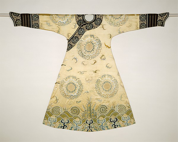 Woman's Ceremonial Robe (The Bat Medallion Robe), Silk and metallic thread embroidery on silk satin, China
