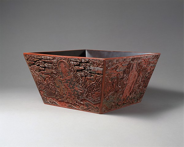 Rice measure with four constellation deities, Carved red, green, and black lacquer, China