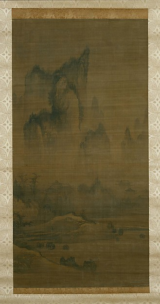 Evening bell from mist-shrouded temple (left); Autumn moon over Lake Dongting (right), Style of An Gyeon (Korean), Pair of hanging scrolls; ink on silk, Korea