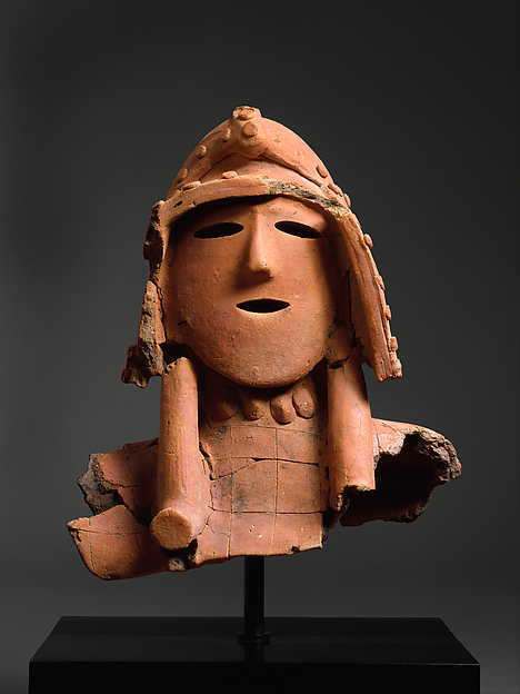Haniwa (Hollow Clay Sculpture) of a Warrior, Earthenware with painted, incised, and applied decoration (Kanto region), Japan