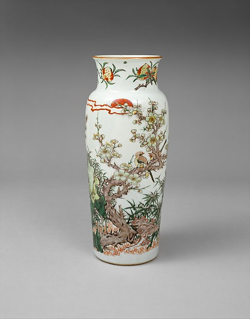 Vase with Bird on Flowering Plum and Setting Sun, Porcelain painted with colored enamels over transparent glaze (Jingdezhen ware), China