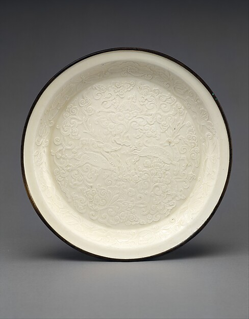Plate, Porcelain with mold-impressed decoration under ivory white glaze (Ding ware), China