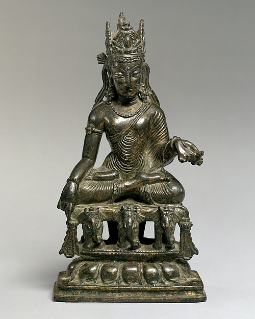 Akshobhya, the Transcendent Buddha of the East, Bronze with silver and copper overlays, Pakistan (Northwest Frontier Province, Swat Valley)