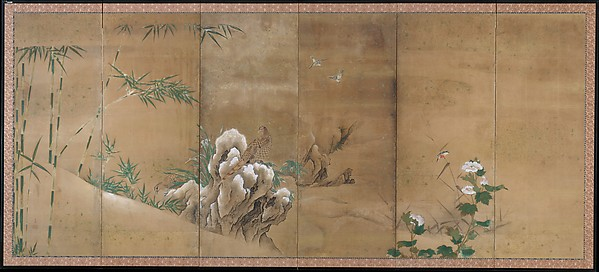 Flowers and Birds of the Four Seasons, Kano Sanboku (Japanese, active late 17th–early 18th century), Pair of six-panel folding screens; ink, color, and gold on paper, Japan
