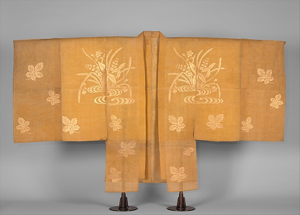 Noh Costume (Chōken) with Water Plants and Mulberry Leaves, Silk gauze (ro) brocaded with metallic thread, Japan