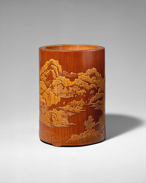 """Brush holder with """"Ode to the Pavilion of the Inebriated Old Man"""", Zhang Xihuang (active early 17th century), Bamboo, China"""