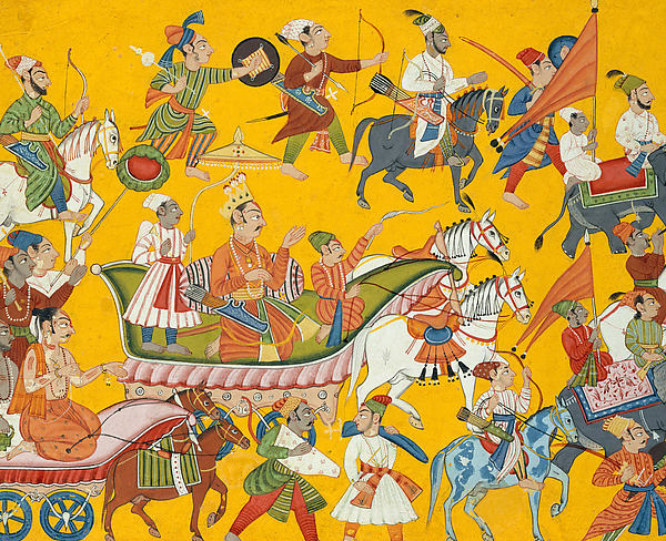 King Dasaratha and His Retinue Proceed to Rama's Wedding: Folio from the Shangri II Ramayana Series, Bahu Masters (active ca. 1680–ca. 1720), Opaque watercolor and ink on paper, India (Bahu, Jammu)