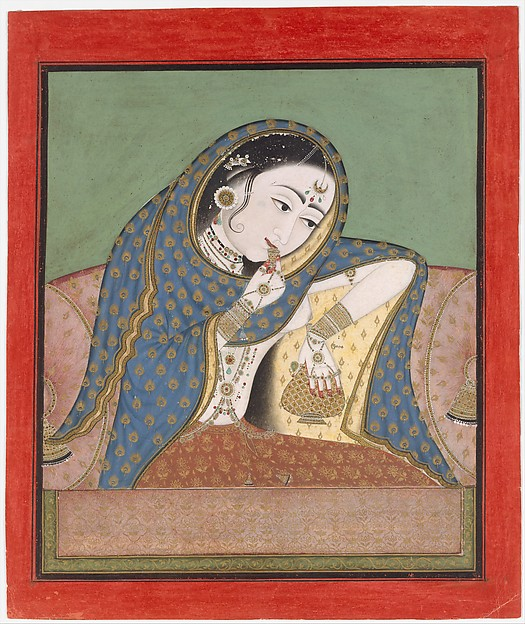 Melancholy Courtesan, Ink, gold and opaque watercolor on paper, India (Rajasthan, Bundi, or Kota [?])
