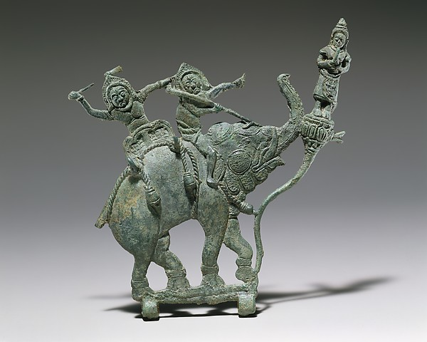 Demons on an Elephant with Adorant, Bronze, Cambodia