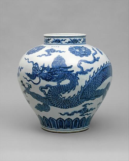 Jar with Dragon, Porcelain painted with cobalt blue under transparent glaze (Jingdezhen ware), China