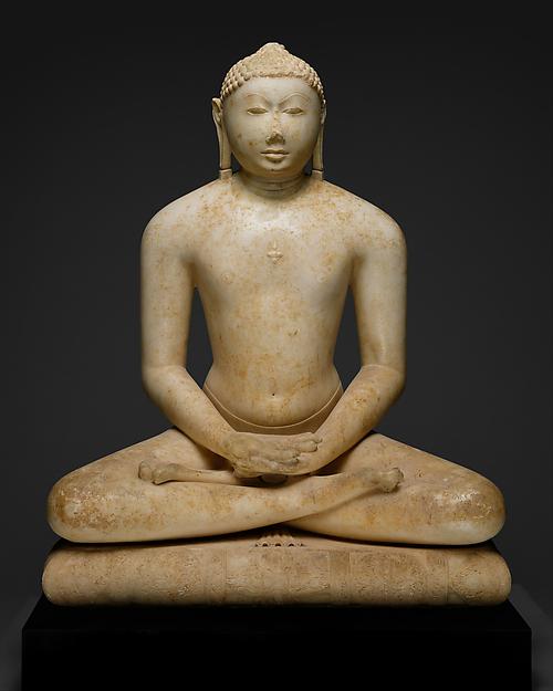 Jain Svetambara Tirthankara in Meditation, Marble, India (Gujarat or Rajasthan)