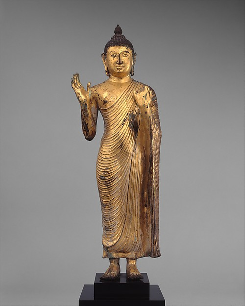 Buddha Offering Protection, Copper alloy with gilding, Sri Lanka, central plateau