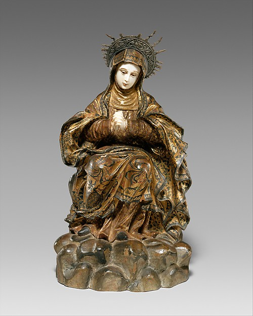Mater Dolorosa (Mourning Virgin), Wood with pigments, gilding, ivory and silver, China