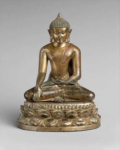Seated Buddha with Double-Lotus Base, Bronze inlaid with silver and copper, Burma