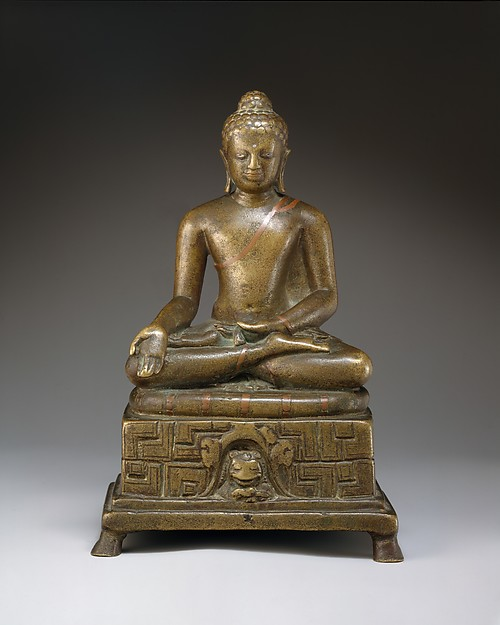 Seated Buddha, Bronze with silver and copper inlay, India