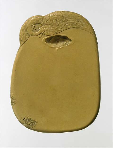 Inkstone with phoenix design, Attributed to Gu Erniang (Chinese, active early 18th century), Limestone, China