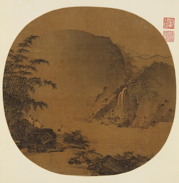 Gentlemen Gazing at a Waterfall, Unidentified Artist, Fan mounted as an album leaf; ink and color on silk, China