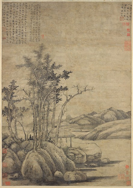 Enjoying the Wilderness in an Autumn Grove, Ni Zan (Chinese, 1306–1374), Hanging scroll; ink on paper, China