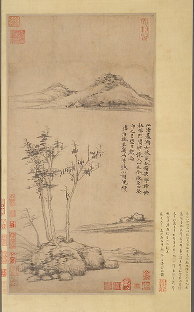 Wind among the Trees on the Riverbank, Ni Zan (Chinese, 1306–1374), Hanging scroll; ink on paper, China